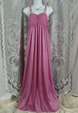 Vanity Fair Slip Dress M pink satin lace long nightgown medium