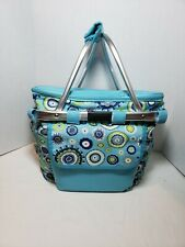Nicole Miller Insulated Picnic Basket Cooler Tote Lunch Handles On The Go TEAL