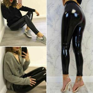 Women's Ladies Vinyl PVC Wet Look Shiny Elasticated High Waist Leggings Pants
