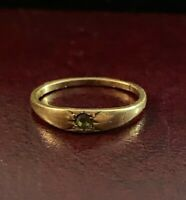 Antique 10K Yellow Gold Green Glass Stone Ring Size 2 Baby Ring