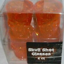 Halloween  SKULL GLASSES 4 PK  Orange  Plastic