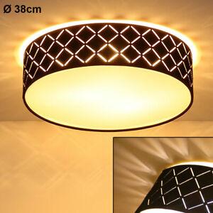 Decken Leuchte schwarz gold rund Wohn Zimmer Beleuchtung Lampe Dekor Stanzungen