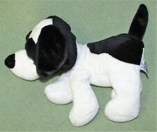 "14"" Russ WINSTON DOG Bean Bag Plush Floppy Stuffed Animal Black White BIG EYE"