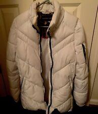 MADDEN GIRL Women's Hooded Long Maxi White Puffer Winter Coat. Women's Medium.