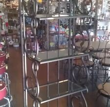 "Plume Bakers Racks Lot of 2 Beveled Glass Shelves Metal 72"" x 20"" x 11.75"" $325"