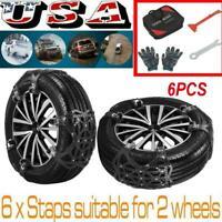 6PCS Car Tyre Anti-Skid Snow Chains Belt Beef Tendon Wheel Truck Tire TPU Chain