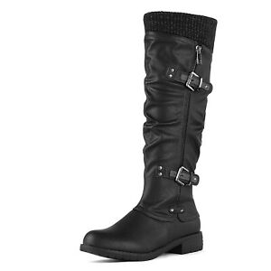 Womens Side Zipper Military Knee High Riding Boots Low Flat Buckle Shoes Size US