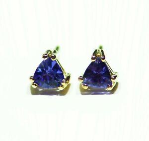 .35CT 14K Gold Natural Trillion Cut Tanzanite Stud Engagement Earrings Vintage