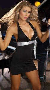 BLACK MINI DRESS WITH SILVER SASH BELT CLUBWEAR 8-12  + THONG DANCER