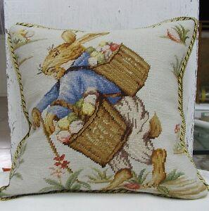 Needlepoint Pillow | Handmade Easter Bunny Rabbit Cushion Cover Pillowcase 18x18