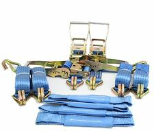 4 x 4mtr Blue Recovery Transporter Ratchet Strap Standard Handles Soft Ring
