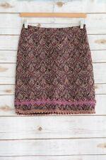 Anna Sui - Burgundy multi-color WOVEN pencil skirt, size 2