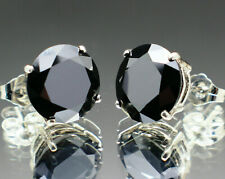 13.44tcw Real Natural Black Diamond Stud Earrings AAA & $6920 Value..