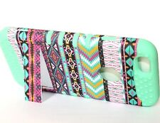 For iPhone 6 / 6S - HARD & SOFT RUBBER HYBRID CASE COVER MINT GREEN PINK AZTEC
