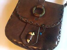 Vtg  Handmade Leather Hand Bag Boho Hippie  Hippie Bag Saddle Purse Burning Man