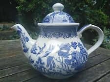More details for vintage broadhurst willow pattern teapot blue white vintage