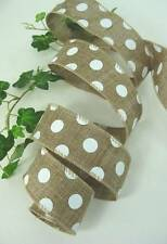 "Natural Brown White Polka Dots Dot 1 1/2"" Wired Ribbon 10 Yards Bows Wedding"