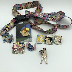 Walt Disney World & Disneyland Parks Official Pin Trading Lot With Nerd Lanyard