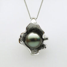 Lustrous Round Black Green Genuine Tahitian Pearl Pendant 925 Sterling Silver