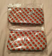 NEW CLINIQUE HOLIDAY 2020 SET 2 ZIPPERED COSMETIC BAGS MAKEUP CASES DOTS PRINT