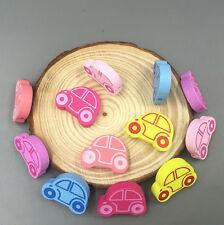 25X Wooden Car shape Loose Beads crafts beads DIY Necklace Make Accessories 25mm
