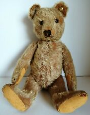 """Antique Jointed 14"""" Steiff Mohair Teddy Bear with Metal Ear Button Tag"""