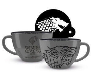 Game of Thrones - House Stark - Cappuccino Mug and Stencil Gift Set