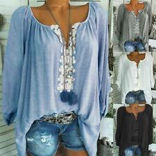 2ec0c0ef277837 Boho Women Summer Plain Shirt Tops Long Sleeve Blouse Gypsy Beach T-Shirt 6-