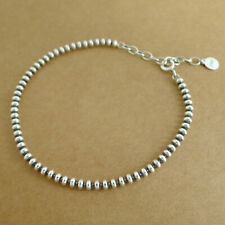 Solid 925 Sterling Silver Oxidized Flat Bead Ball Linked Beads Stack Bracelet