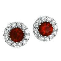 1 ct. Ruby & White Sapphire Halo Stud Earrings in Solid Sterling Silver
