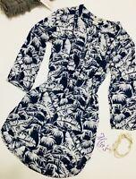 H&M L.O.G.G. Women's Size 2 US Blue With White Flower 3/4 Sleeve V-Neck Blouse