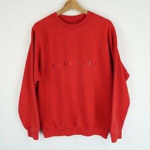 Vintage 90's BENETTON Embroidered Logo sweatshirt Retro SZ Large (E9686)