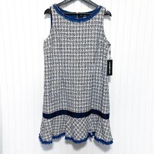 NWT Karl Lagerfeld Navy Tweed Flounce Peplum Hem Sleeveless Dress Size 16
