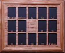 Preschool to Graduation Oak Photo collage insert  Oak  picture frame  11x14 size