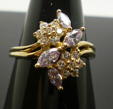 14ct yellow gold iolite and synthetic diamond dress ring with full hallmark