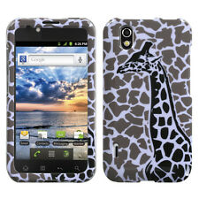For LG Marquee HARD Protector Case Snap on Phone Cover Grey Giraffe Single