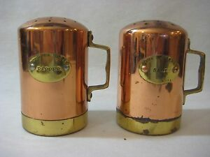 """Salt & Pepper Shakers Copper And Brass Set, Made In Korea, 4 1/2"""" T X 4 1/4"""" W"""