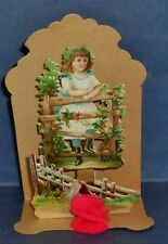 """Germany ANTIQUE 5"""" VICTORIAN HONEYCOMB VALENTINE~Girl on Fence~ Pop-up~Die Cut"""