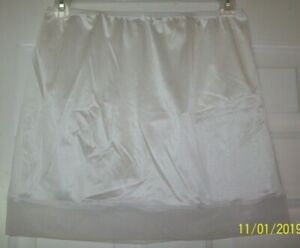 "WHITE Nylon Tricot SLIP & PANTY * Sheer Hem * 30-42 Waist * Length 17""   L XL"
