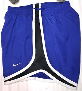 NIKE DriFit Tempo Shorts Women's Size XS Blue/Black W/White Trim RN:56323