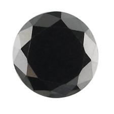 1.25 carat GENUINE NATURAL LOOSE DIAMOND JET BLACK OPAQUE ROUND BRILLIANT CUT