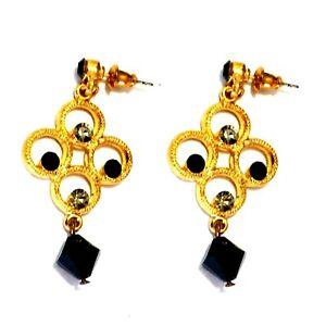 Earrings Ear Stud Earrings Rhinestone Bollywood Jewelry Orient Black Gold