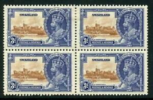 Swaziland 1935 Silver Jubilee SG23a 3d Extra Flagstaff in a BLOCK
