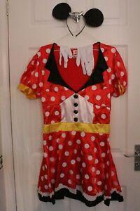 Ex Hire Film Minnie Mouse Adult Dress w/ Ears +Gloves Medium Fancy Dress Costume