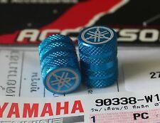 YAMAHA GENUINE WHEEL VALVE DUST CAP SET OF TWO BLUE  KNURLED FINISH