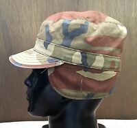 ~US MILITARY WOODLAND CAMO SZ 7 PATROL CAP HAT WITH FLAPS SEKRI MADE IN THE USA!