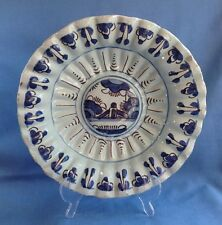 """Antique 17thC English Delft Lobed Blue Black 10"""" Charger Fluted London Lambeth"""