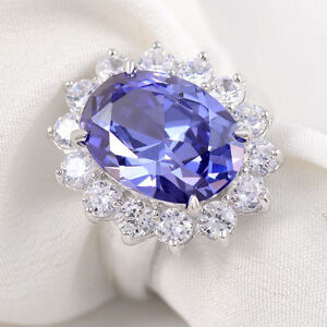 6Ct Blue Oval Tanzanite CZ 925 Sterling Silver Princess Diana Style Wedding Ring