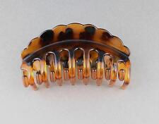 """Brown tortoise hair clip scalloped edge plastic barrette jaw claw clamp 4"""" long"""