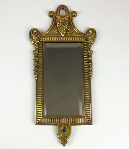 Fine Antique Victorian Brass Wall Mirror- Rampant Lion Shield Dated 1883 - Royal